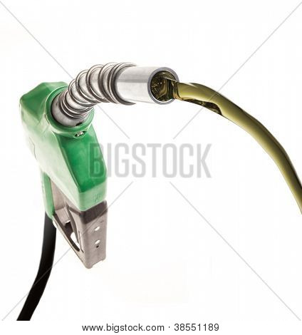 Green gas nozzle with flowing fuel on white background