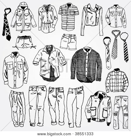 Set of Clothes Hand Drawn