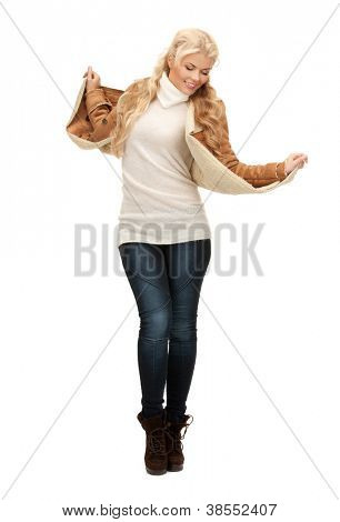 picture of dancing woman in sheepskin jacket