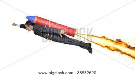 Successful businessman flying on a rocket.
