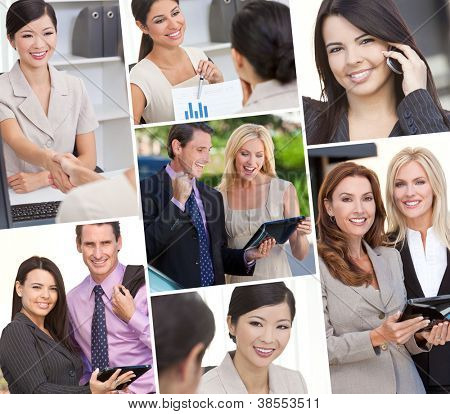 Montage of Interracial business group men & women, businessmen and businesswomen team outdoors and in an office using cell phones and tablet computers