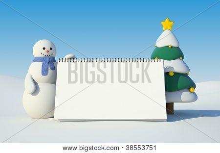 Snowman and calendar