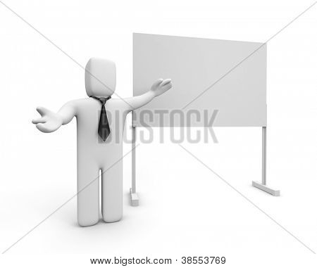 Businessman and whiteboard