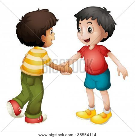 illustration of two kids shaking hands on white background