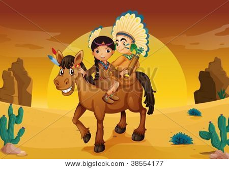 illustration of kids and horse in a desert