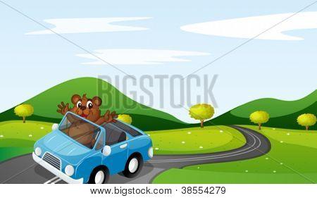 ilustração de um urso e um carro em uma bela natureza