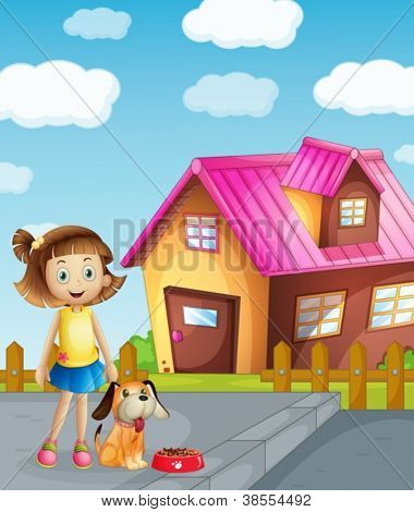 illustration of a girl, dog and house in a beautiful nature