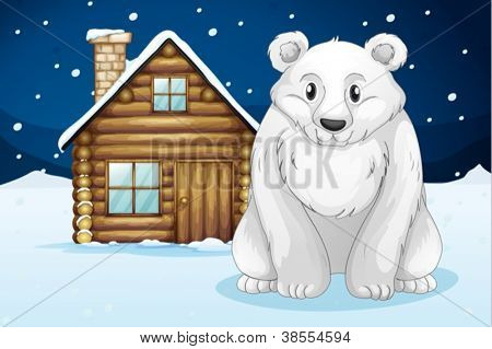 illustration of a polar bear infron of house