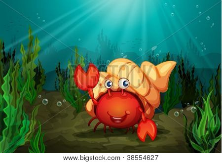 illustration of a crab under deep water