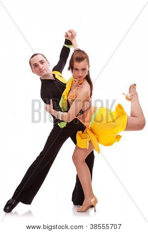 sweet slasa couple dancing on a white background.