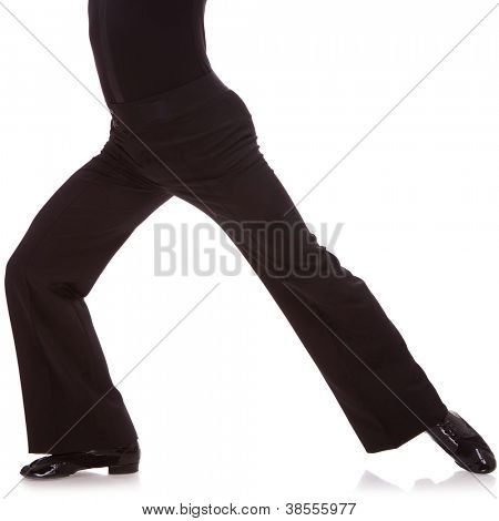 waist-down cutout picture of a male salsa dancer, on white