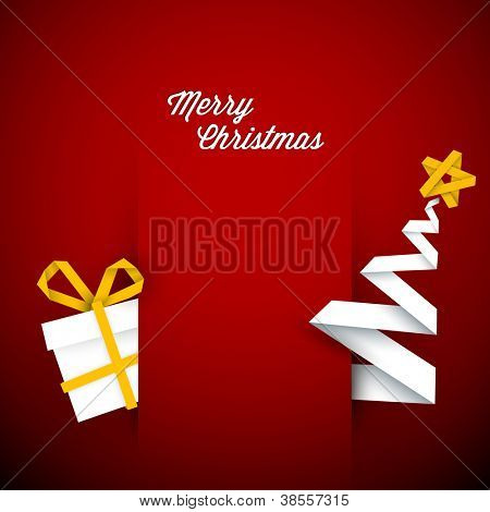 Simple vector red christmas card with gift and tree made from paper stripe