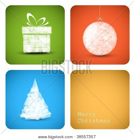 Simple vector christmas decoration card with present, bauble and tree