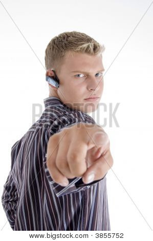 Professional Caucasian Guy Pointing