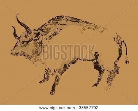 Alte Höhlenmalereien von buffalo