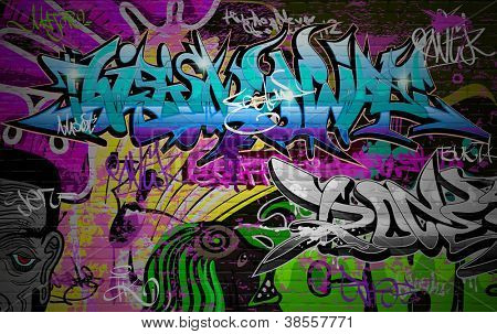 Graffiti wall vector urban art