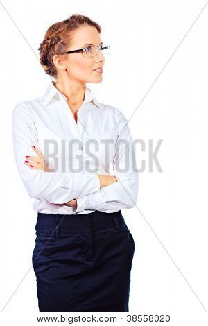 Portrait of a beautiful business woman looking to the side. Isolated over white.