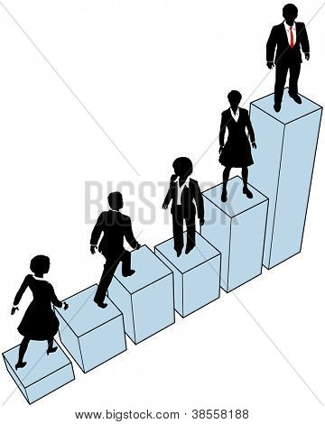 Business people climb a company growth bar chart to help build market share