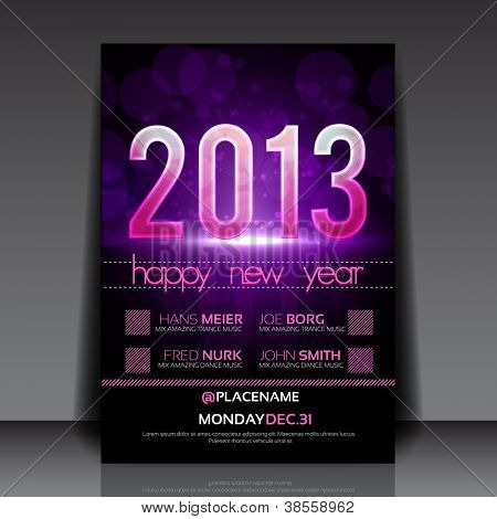 Happy New Year 2013 Purple Vector Editable Flyer Template