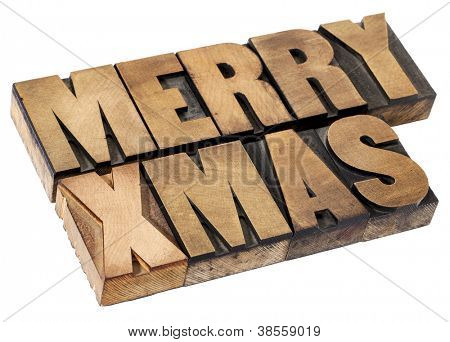 Merry Christmas  (Xmas) - isolated text in vintage letterpress wood type