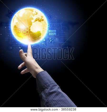 Human hand holding our planet earth glowing. Elements of this image furnished by NASA.
