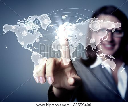Modern Business World, A businessman navigating virtual world map