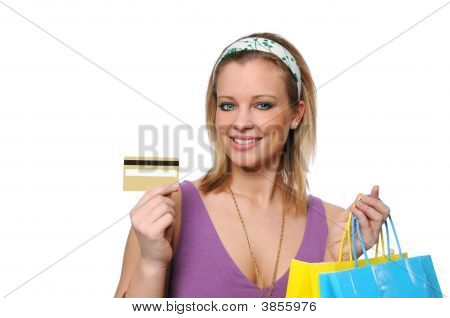Teen Shopping Showing A Credit Card