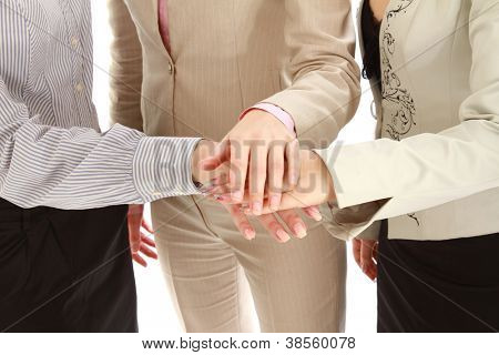 business team putting their hands