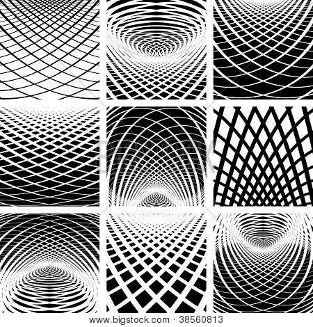 Optische Täuschung. Abstrakte Kulissen festgelegt. Vektorgrafiken.