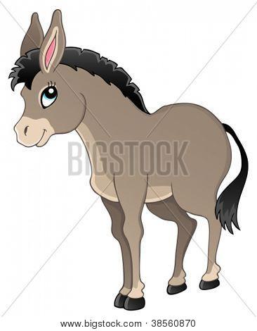 Donkey theme image 1 - vector illustration.