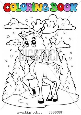 Coloring book reindeer theme 1 - vector illustration.
