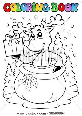 Coloring book reindeer theme 2 - vector illustration.