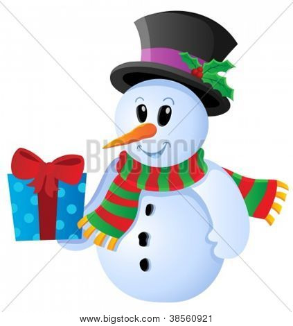 Winter snowman theme image 3 - vector illustration.