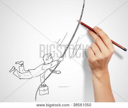 Schwarz-weiß Zeichnung über Risiken und Gefahren im Geschäft