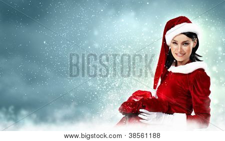 Christmas illlustration of beautiful girl in santa costume