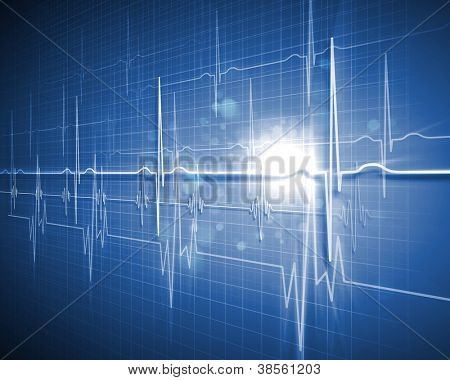 Antecedentes médicos con un corazón batir / pulso con un símbolo de monitor de ritmo cardíaco