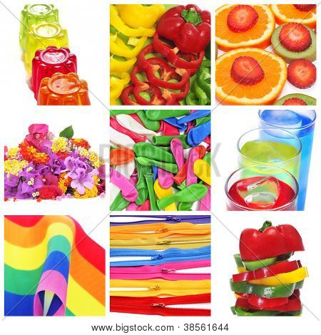 a collage of nine pictures of colorful things of different colors, as gelatine, peppers, fruits, flowers, balloons, cocktails or the rainbow flag