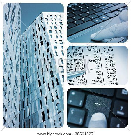 eine Collage aus vier Bilder von verschiedenen Elementen wie Bürogebäude, ein Laptop oder abrechnen