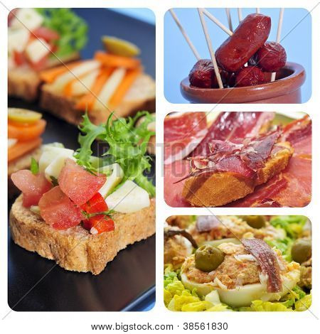 a collage of four pictures of different spanish tapas, as canapes, fried chorizos, pa amb tomaquet and serrano ham or stuffed eggs