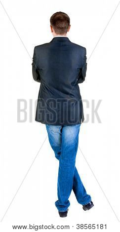 Back view of young expert looks ahead. Rear view people collection.  backside view of person.  Isolated over white background.
