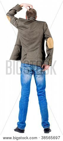 Back view of thinking business man in jacket . Rear view people collection.  backside view of person.  Isolated over white background.