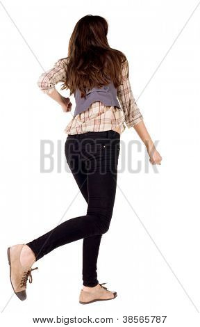 back view of runing brunette girl. woman in motion. Rear view people collection.  backside view of person. Isolated over white background.