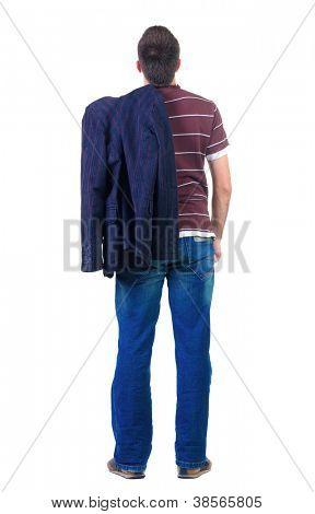 Rückansicht des jungen Mannes blickt nach vorn. Hintere Ansicht People-Auflistung.  Rückseite Blick auf Person.  Isoliert