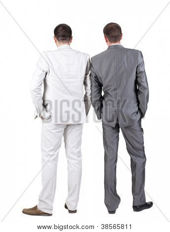 Back view of Two business men.  Rear view. Isolated over white background.