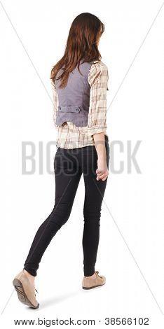 Rückansicht des laufenden Frau. Gir. in Bewegung. Hintere Ansicht People-Auflistung.  Rückseite Blick auf Person. Ist