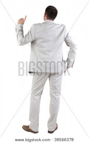 Back view of  thinking young business man in  white suit. Rear view. isolated over white background. Concept of idea, ask question, think up, choose, decide.