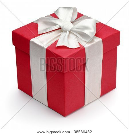 Red gift box with white ribbon and bow, isolated on the white background, clipping path included.