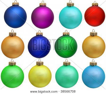 coleção de colorido enfeite de ano novo de bola de Natal. Isolado sobre o branco.