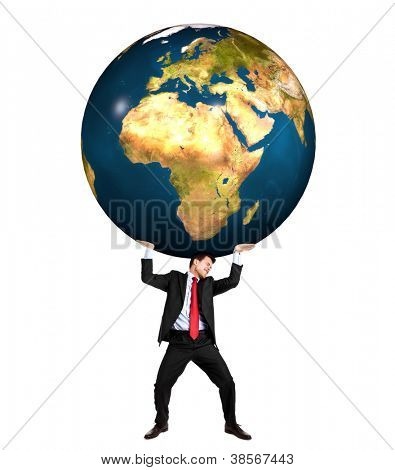 Businessman holding the grief of the world on his shoulders