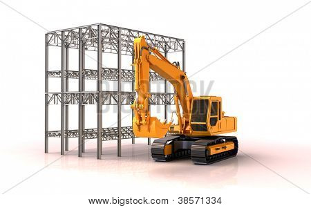 Building site: metal construction and excavator white background, slight shadow and reflection